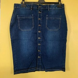 Suko Jean Skirt Denim Button Down Dark Wash Size12